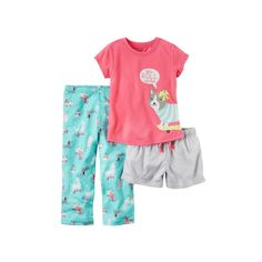 Baby Girl Carter's Graphic Tee, Striped Shorts & Print Pants Pajama Set, Size: 18 Months, Ovrfl Oth