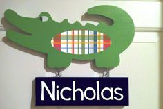Alligator nursery decor/Alligator door hanger with name sign/personalized alligator