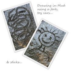 Draw in the Mud or Dirt Using a Fork, Toy Car or Sticks Outdoor Fun For Kids, Outdoor Activities For Kids, Outdoor Learning, Sensory Activities, Drawing Activities, Outdoor Education, Outdoor Classroom, Forest School, Preschool Art