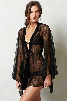 Lace Kimono Robe #anthropologie  sheer lace robe, complete with velvet trim and dramatic kimono sleeves.