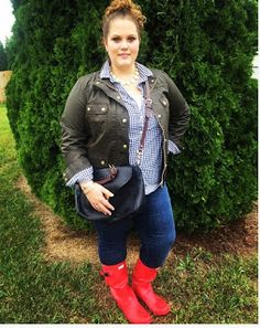 Classically Curvy Plus size fashion. Red Hunter Boots. Huntress. J Crew Downtown Field Jacket Gingham Mulberry Polly Pushlock preppy