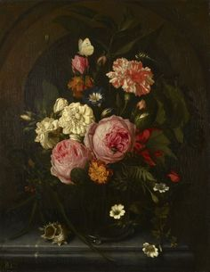 Maria van Oosterwyck (Noorddorp 1630-Uitdam 1693) - Still Life with Flowers, Insects and a Shell