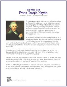 Franz Joseph Haydn - Free Hey Kids, Meet the Composer Biography (Digital Print) Music Lessons For Kids, Music Lesson Plans, Piano Lessons, Teachers Be Like, Classical Music Composers, Middle School Music, Social Studies Notebook, American History Lessons, My Father's World