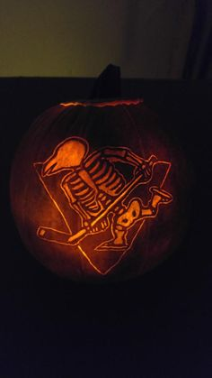 Twitter user @DKunk took his #Pens pumpkin to a whole new level with a skeleton Penguin!