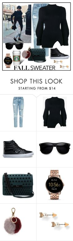"""""""Coffee Run"""" by monicalyn ❤ liked on Polyvore featuring GRLFRND, Jacquemus, Vans, ZeroUV, Foley + Corinna, FOSSIL and Salvatore Ferragamo"""