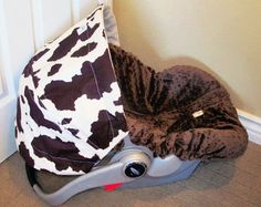 baby boy cowhide car seat covers | Infant car seat cover Brown Cowhide by ChubbyBaby on Etsy