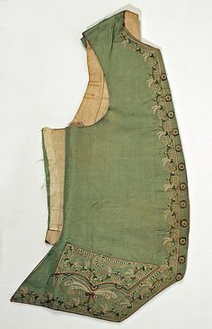 Waistcoat, 18th C., American or European, Made of silk and linen