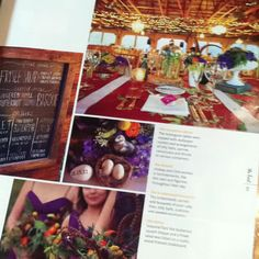 Love the colorful wedding hall... And this menu on chalkboard. :)