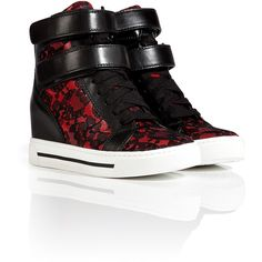MARC BY MARC JACOBS Leather/Lace Wedge Sneakers in Red/Black ($215) ❤ liked on Polyvore featuring shoes, sneakers, velcro sneakers, black leather shoes, black lace shoes, red sneakers y wedged sneakers