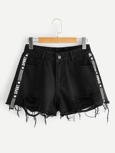 Contrast Letter Ribbon Denim Shorts - Contrast Letter Ribbon Denim Shorts Source by sofiacharms - Girls Fashion Clothes, Teen Fashion Outfits, Girl Fashion, Fashion Black, Paris Fashion, Cute Casual Outfits, Short Outfits, Summer Outfits, Vetement Fashion