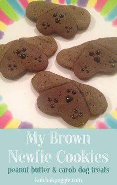 My Brown Newfie Peanut Butter and Carob Dog Treat Recipe in honor of Leroy and a speedy recovery. ♥ #KolsNotes #MyBrownNewfies