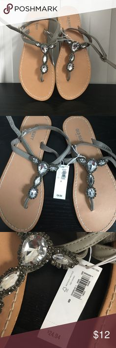 Jeweled sandals Diamonds are a girls best friend! Add a little sparkle this spring with these never worn sandals! Old Navy Shoes Sandals
