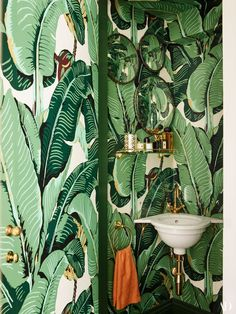 Martinique wallpaper covers the powder room. Custom sink by Joanna Plant with fittings   by Lefroy Brooks.