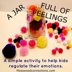 A Jar Full of Feelings is a visual sensory regulation activity to help children recognize and respond appropriately to their feelings. Emotions Activities, Social Skills Activities, Counseling Activities, Therapy Activities, Activities For Kids, Therapy Ideas, Therapy Tools, Grief Activities, Teaching Emotions