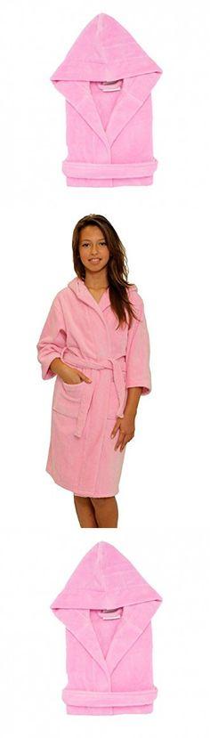 Kid's Terry Velour Hooded Robe 100% Pure Cotton Boys Girls Bathrobe(Pink,L)