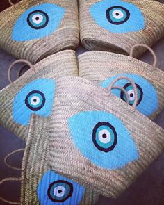 evileye straw baskets handpainted by cottonprince.gr