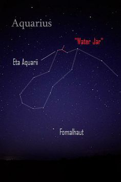Water Jar asterism in the constellation Aquarius. The Water Jar marks the radiant of the Eta Aquarid meteor shower. Halley's Comet is the source of this meteor shower.