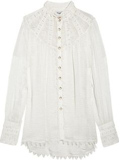 ShopStyle: Temperley London Valencia silk-cloqué and lace blouse