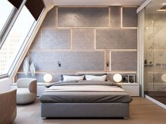 Contemporary modern bedroom with backlit custom designed wall as headboard, featured on NONAGON. Modern Wood Furniture, Wood Bedroom Furniture, Bedroom Decor, Bedroom Lamps, Bedroom Ideas, Headboard Ideas, Gray Bedroom, Bedroom Bed, Fine Furniture