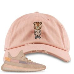 ce415111d94b1 Complete your sneaker matching outfit in style while rocking this Yeezy  Bear Peach Distressed Dad Hat. Cap Swag