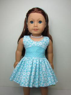 American Girl doll clothes - Aqua   and white flowered  Lisianthus dress. on Etsy, $17.80