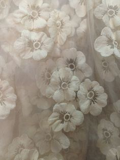 Ivory Organza Lace Fabric, vintage lace fabric, Retro Embroidered Flowers, lace by the yard