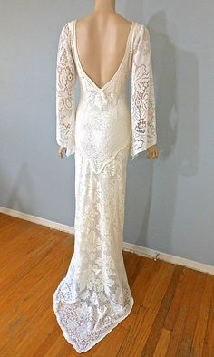 Backless Cream LACE Crochet Wedding Dress Hippie by MuseClothing