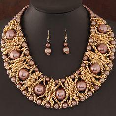 Boutique Sieraden Sets Voor Vrouwen Goud Kleur Afrikaanse Kralen Sieraden Set Party Accessoires Ketting Oorbellen Groothandel