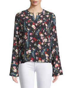 443faa838d3d77 Equipment Heather Flare-Sleeve Floral Black Silk Button Up Shirt  equipment   floral