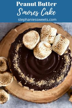 This s'mores peanut butter cake is super moist. 3 layers of chocolate cake with peanut butter marshmallow creme and chocolate ganache filling. Triple Layer Chocolate Cake, Chocolate Ganache Filling, Best Chocolate, Chocolate Flavors, Summer Dessert Recipes, Dessert Drinks, Yummy Snacks, Yummy Food, Smores Cake