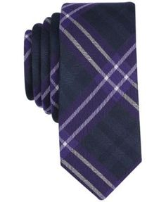 Bar Iii Men's Albina Plaid Skinny Tie, Created for Macy's - Purple