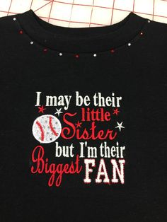 Little Sister Baseball Shirt with BLING by EmbroiderywithBling on Etsy