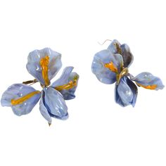 Lilla Tabasso Iris Murano Glass Earrings ($130) ❤ liked on Polyvore featuring jewelry, earrings, iris jewelry, murano glass earrings, murano glass jewelry and earring jewelry