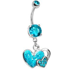 Zircon Blue Gem Falling For You Heart Belly Ring