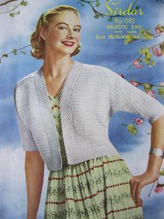 "Vintage 1950's sirdar knitting pattern 1582 ladies bolero bust 38 - 44"""