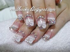 pretty nail designs with charms n bling | Rachel's lovely bridal lace acrylic nails... very bling n pretty :)