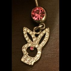 Belly button ring Playboy bunny belly button with stones Playboy  Jewelry
