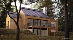QUELQUES MAISONS MÉTISSES… – Adornetto Farmhouse Architecture, Modern Farmhouse Exterior, Modern Lake House, Modern House Design, Lake House Plans, A Frame House, Dream House Exterior, Forest House, Japanese House