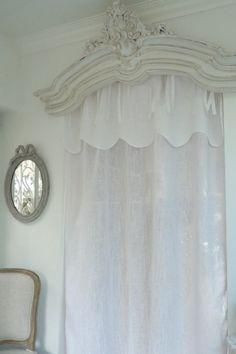 Swags cortina e bordado branco, véu de linho natural, Cortinas Grandes, Cortina saia de linho natural, estilo country, Gustaviano, shabby