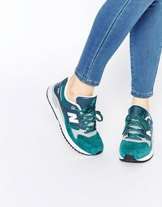 Image 1 of New Balance 530 Green & White Suede Trainers