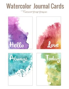 Freebie: watercolor journal cards stuff to do watercolor jou Watercolor Journal, Watercolor Cards, Watercolour, Watercolor Paintings, Karten Diy, Project Life Cards, Printable Planner, Freebies Printable, Free Printables