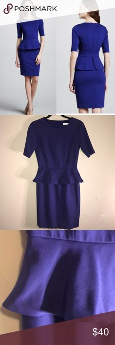 """Trina Turk Trophie Dress in Surf Size 4/6 Beautiful Trina Turk blue peplum Trophie Dress in Surf.  Not sure on size but I think it is a 4/6 as the length of the 8 is 38.5"""" long and this one is 37"""".  Retails at $298 on Revolve.  15"""" across Waist.  5"""" from armpit to hem of arm.  Zip back.  Lined. 69% Rayon  29"""" nylon 2% spandex  Lining: 100% polyester  Dry clean only. Trina Turk Dresses Midi"""