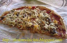 Pyszna i lekka pizza, do zjedzenia cała jedna duża.Ciasto powinno być cienkie by dobrze się upiekło :) 2-3 jajka 3 łyżki otrąb ...