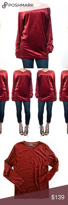 Vintage Versace velvet ox blood top Super chic vintage gem! Tag says XL but I would say this runs smaller. No trades. Always open to offers. All photos are of actual item. Would look super chic with some leggings and boots as a mini dress. Versace Tops