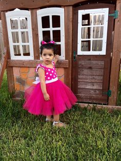 This Minnie Dress is made in Hot Pink Polka Dot cotton fabric and Hot Pink Tulle fabric, the back is elasticized for better fit and it has a wide Pink Tulle, Tulle Fabric, Cotton Fabric, Tutu Outfits, Kids Outfits, Minnie Dress, 1st Birthday Tutu, Disney Dresses, Kid Styles