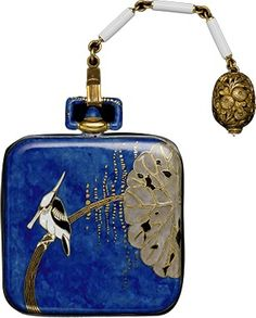 An Art Deco Japanisme 'Inrho' style watch, circa by Vacheron Constantin, Swiss, composed of gold, enamel and sapphire. Art Antique, Antique Jewelry, Vintage Jewelry, Antique Gold, Art Nouveau, Antique Watches, Vintage Watches, Art Deco Fashion, Fashion Jewelry