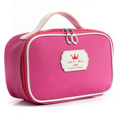 Western Style Cosmetic Bag Leather Travel Toiletry Bags Small Organizer Women Makeup Bag Crown Make up Case Beauty Storage