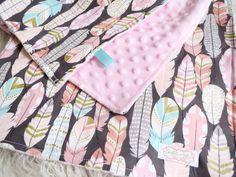 Baby Girl Blanket - Pink Minky Blanket - Feather Blanket - Tribal Baby Blanket - Boho Baby Blanket