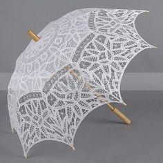 Embroidered Cotton Wedding Umbrella in White. Lots of affordable lace/decorative umbrellas for weddings and photo props!