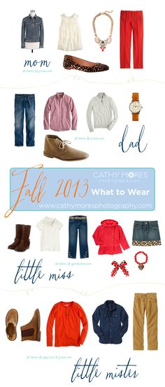 What to wear for fall family portrait sessions! Leopard, red & denim